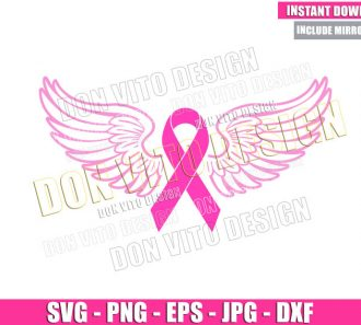 Cancer Ribbon Angel Wings (SVG dxf png) Breast Cancer Month Cut File Cricut Silhouette Vector Clipart - Don Vito Design Store