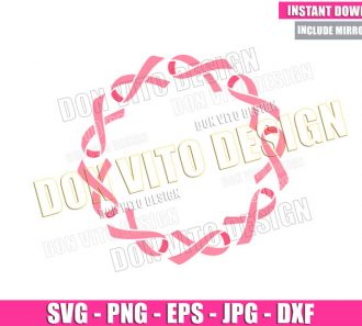 Cancer Ribbon Circle Frame (SVG dxf png) Pink Round Border Cut File Cricut Silhouette Vector Clipart - Don Vito Design Store