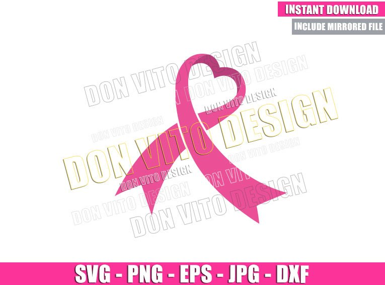 Cancer Ribbon Heart (SVG dxf png) Breast Cancer Month Cut File Cricut Silhouette Vector Clipart - Don Vito Design Store