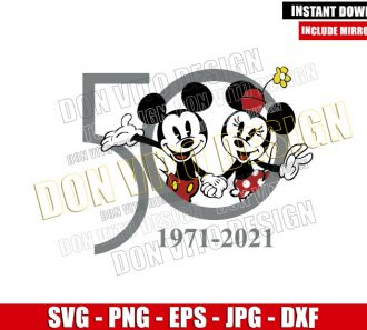 Mickey Minnie 1971 2021 (SVG dxf png) Walt Disney World 50th Anniversary Cut File Cricut Silhouette Vector Clipart - Don Vito Design Store