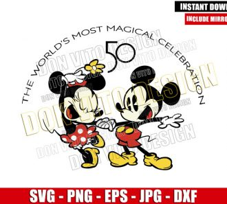 Cartoon Mickey Minnie 50th Anniversary (SVG dxf png) Walt Disney World Celebration Cut File Cricut Silhouette Vector Clipart - Don Vito Design Store