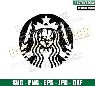 Chucky Starbucks Mermaid (SVG dxf png) Halloween Coffee Logo Cut File Cricut Silhouette Vector Clipart - Don Vito Design Store