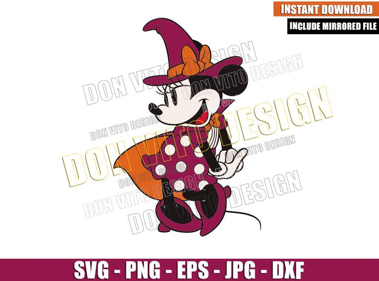 Classic Minnie Mouse Witch (SVG dxf png) Disney Halloween Cut File Cricut Silhouette Vector Clipart - Don Vito Design Store