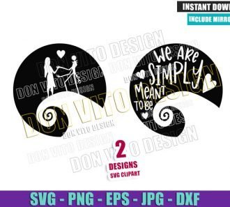 Couple Jack Sally Quote (SVG dxf png) We are Simply Meant to be Cut File Cricut Silhouette Vector Clipart - Don Vito Design Store