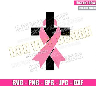 Cross Breast Cancer Ribbon (SVG dxf png) Religious Pink Cut File Cricut Silhouette Vector Clipart - Don Vito Design Store