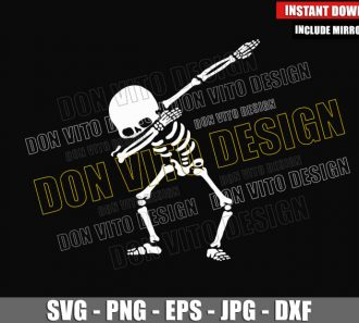 Dabbing Skeleton Dance (SVG dxf png) Dab Funny Skull Bones Dancing Cut File Cricut Silhouette Vector Clipart - Don Vito Design Store