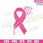 Feather Pink Ribbon Birds (SVG dxf png) Breast Cancer Month Cut File Cricut Silhouette Vector Clipart Design Awareness svg