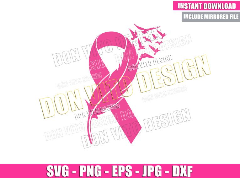 Feather Pink Ribbon Birds (SVG dxf png) Breast Cancer Month Cut File Cricut Silhouette Vector Clipart - Don Vito Design Store