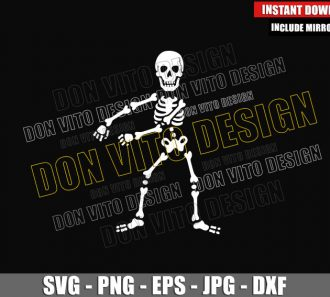 Flossing Skeleton Dance (SVG dxf png) Floss Bones Skull Cut File Cricut Silhouette Vector Clipart - Don Vito Design Store