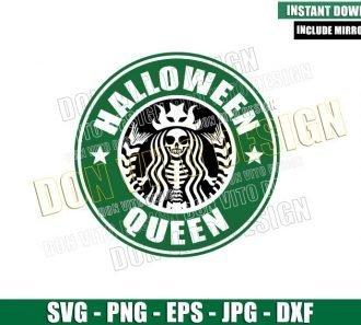 Halloween Queen Skeleton Starbucks (SVG dxf png) Mermaid Coffee Logo Cut File Cricut Silhouette Vector Clipart - Don Vito Design Store