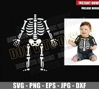 Halloween Skeleton Baby (SVG dxf png) Child Skeletal Bones Cut File Cricut Silhouette Vector Clipart - Don Vito Design Store