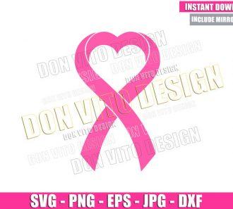 Heart Breast Cancer Ribbon (SVG dxf png) Love Awareness Cut File Cricut Silhouette Vector Clipart - Don Vito Design Store