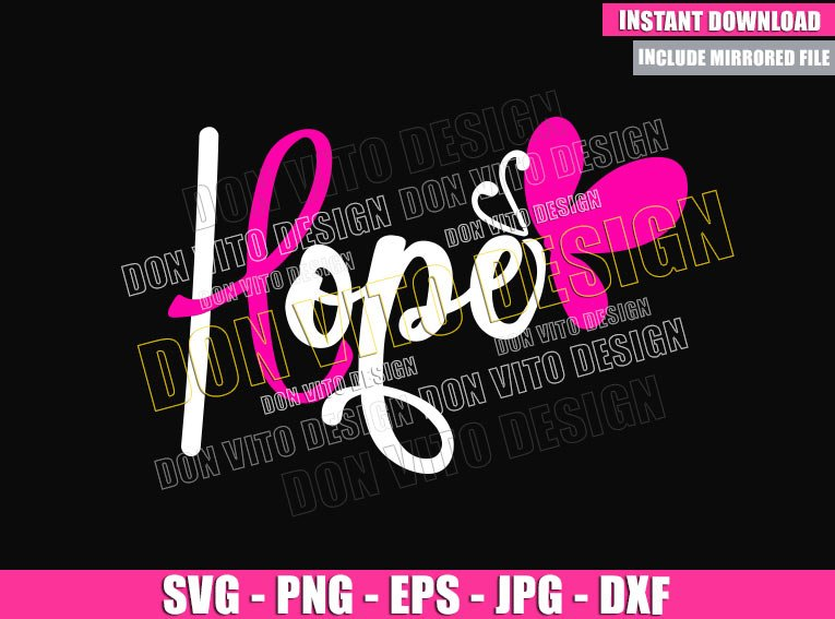 Hope Butterfly Ribbon Pink (SVG dxf png) Breast Cancer Month Cut File Cricut Silhouette Vector Clipart - Don Vito Design Store