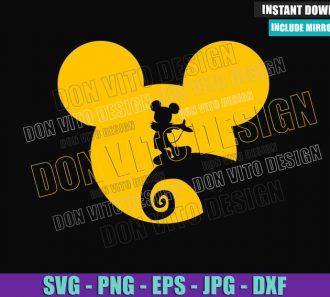 Jack Skellington Mickey Head (SVG dxf png) Halloween Disney Cut File Cricut Silhouette Vector Clipart - Don Vito Design Store