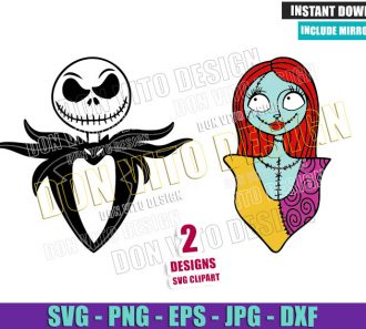 Jack Skellington Sally Ragdoll (SVG dxf png) Nightmare Before Christmas Cut File Cricut Silhouette Vector Clipart - Don Vito Design Store