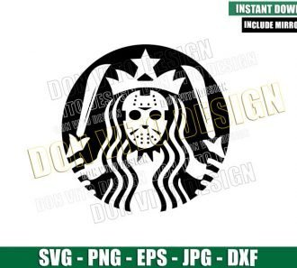 Jason Voorhees Starbucks Mermaid (SVG dxf png) Friday 13th Coffee Logo Cut File Cricut Silhouette Vector Clipart - Don Vito Design Store