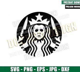 Michael Myers Starbucks Mermaid (SVG dxf png) Halloween Coffee Logo Cut File Cricut Silhouette Vector Clipart - Don Vito Design Store
