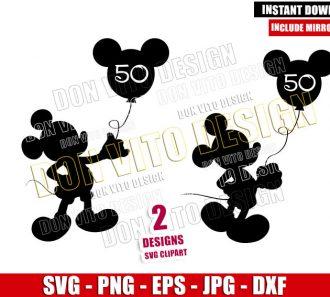Mickey 50th Anniversary Balloon (SVG dxf png) Walt Disney World Cut File Cricut Silhouette Vector Clipart - Don Vito Design Store