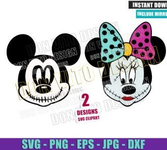 Mickey Jack Minnie Sally (SVG dxf png) Nightmare Before Christmas Cut File Cricut Silhouette Vector Clipart - Don Vito Design Store