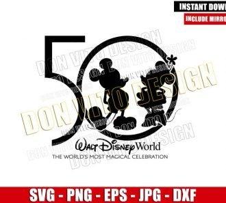 Mickey Minnie 50th Celebration (SVG dxf png) Walt Disney World Anniversary Cut File Cricut Silhouette Vector Clipart - Don Vito Design Store