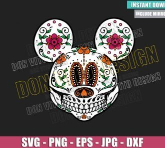 Mickey Mouse Day of the Dead (SVG dxf png) Sugar Skull Head Cut File Cricut Silhouette Vector Clipart - Don Vito Design Store