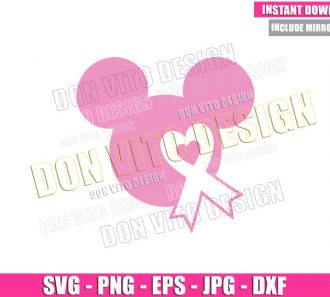 Mickey Mouse Head Ribbon (SVG dxf png) Disney Pink Heart Cut File Cricut Silhouette Vector Clipart - Don Vito Design Store