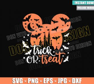 Mickey Head Trick or Treat (SVG dxf png) Halloween Mouse Disney Castle Cut File Cricut Silhouette Vector Clipart - Don Vito Design Store