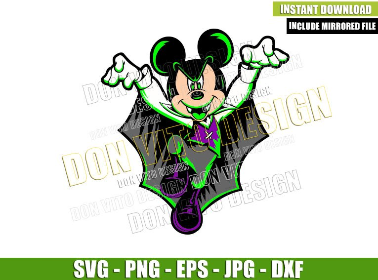 Mickey Mouse Vampire Costume (SVG dxf png) Dracula Bat Cut File Cricut Silhouette Vector Clipart - Don Vito Design Store