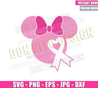 Minnie Mouse Head Ribbon (SVG dxf png) Disney Pink Bow Heart Cut File Cricut Silhouette Vector Clipart - Don Vito Design Store