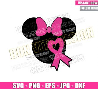 Minnie Pink Heart Ribbon (SVG dxf png) Breast Cancer Month Cut File Cricut Silhouette Vector Clipart - Don Vito Design Store