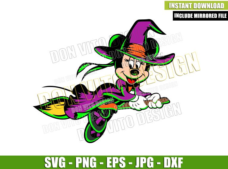 Minnie Mouse Witch Costume (SVG dxf png) Flying on Broom Cut File Cricut Silhouette Vector Clipart - Don Vito Design Store
