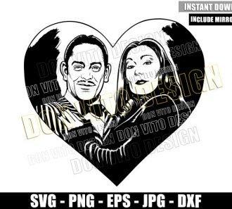 Morticia and Gomez Heart (SVG dxf png) The Addams Family Couple Cut File Cricut Silhouette Vector Clipart - Don Vito Design Store