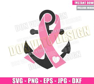Pink Ribbon Anchor (SVG dxf png) Heart Awareness Cut File Cricut Silhouette Vector Clipart - Don Vito Design Store