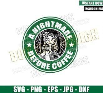 Sally Ragdoll Starbucks Mermaid (SVG dxf png) Coffee Logo Cut File Cricut Silhouette Vector Clipart