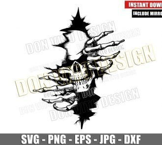 Skeleton Breaking through Wall (SVG dxf png) Skull Ripping Cut File Cricut Silhouette Vector Clipart - Don Vito Design Store