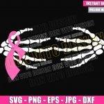 Skeleton Hands Pink Ribbon (SVG dxf png) Bone Hand Cut File Cricut Silhouette Vector Clipart T-Shirt Design Breast Cancer Month svg