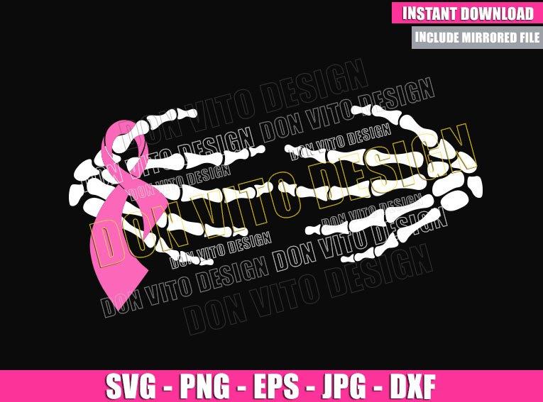 Skeleton Hands Pink Ribbon (SVG dxf png) Bone Hand Cut File Cricut Silhouette Vector Clipart - Don Vito Design Store