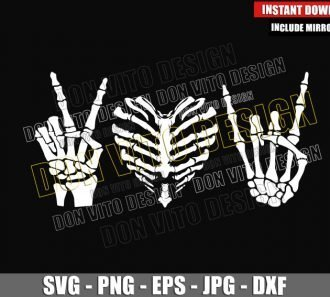 Skeleton Peace Love Rock and Roll (SVG dxf png) Skull Hands Cut File Cricut Silhouette Vector Clipart - Don Vito Design Store