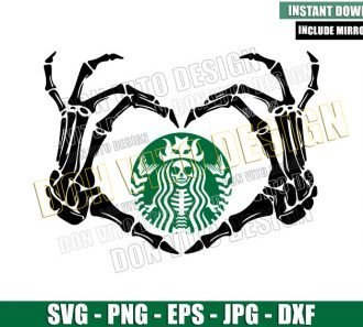 Starbucks Heart Skeleton Hands (SVG dxf png) Halloween Love Coffee Cut File Cricut Silhouette Vector Clipart - Don Vito Design Store