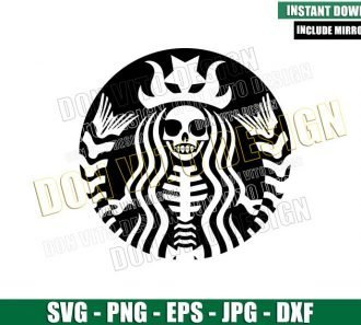 Starbucks Skeleton Mermaid (SVG dxf png) Halloween Coffee Lady Witch Cut File Cricut Silhouette Vector Clipart - Don Vito Design Store