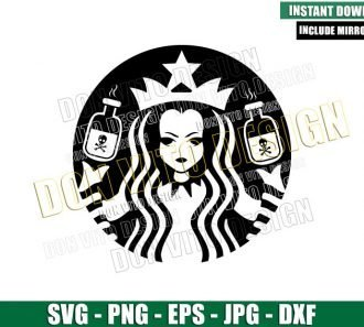 Starbucks Wednesday Addams (SVG dxf png) Addams Family Halloween Coffee Cut File Cricut Silhouette Vector Clipart - Don Vito Design Store