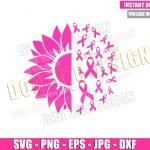 Sunflower Breast Cancer (SVG dxf png) Pink Ribbon Awareness Cut File Cricut Silhouette Vector Clipart Design Breast Cancer Month svg