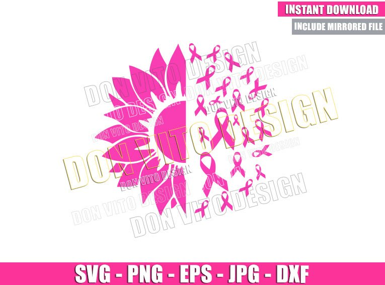 Sunflower Breast Cancer (SVG dxf png) Pink Ribbon Awareness Cut File Cricut Silhouette Vector Clipart - Don Vito Design Store