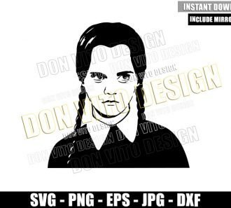 Wednesday Addams (SVG dxf png) The Addams Family Daughter Cut File Cricut Silhouette Vector Clipart - Don Vito Design Store