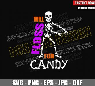 Will Floss for Candy (SVG dxf png) Flossing Skeleton Dancing Cut File Cricut Silhouette Vector Clipart - Don Vito Design Store